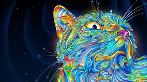 Preview wallpaper abstraction, vector, cat, colorful, paint