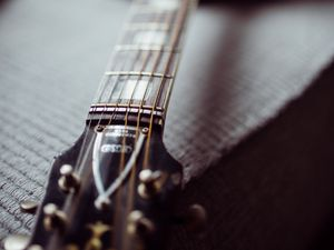 Preview wallpaper acoustic guitar, guitar, fretboard, strings, music, focus
