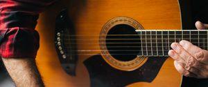 Preview wallpaper acoustic guitar, guitar, guitarist, notes, music