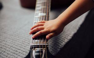 Preview wallpaper acoustic guitar, guitar, strings, fretboard, music, hand