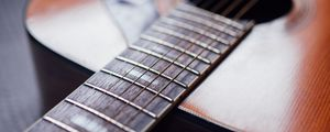 Preview wallpaper acoustic guitar, guitar, strings, fretboard, music