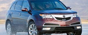 Preview wallpaper acura, mdx, burgundy, jeep, front view, drift, wet asphalt, auto