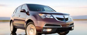 Preview wallpaper acura, mdx, burgundy, jeep, front view, drift, wet asphalt, cars, speed