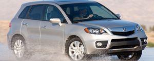Preview wallpaper acura, rdx, silver metallic, side view, jeep, auto, wet asphalt, spray, nature, drift