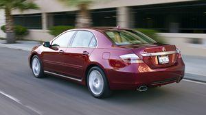 Preview wallpaper acura, rl, sedan, red, rear view, style, cars, speed building, asphalt