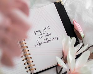 Preview wallpaper adventure, phrase, words, inscription, note, flowers