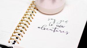 Preview wallpaper adventure, words, motivation, inscription, notebook