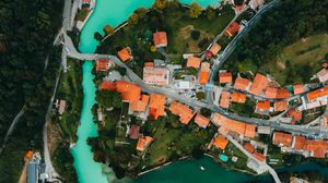 Preview wallpaper aerial view, city, river, forest, trees
