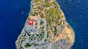 Preview wallpaper aerial view, island, road, relief, sea