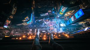 Preview wallpaper aerial view, night city, feet, overview, new york, united states