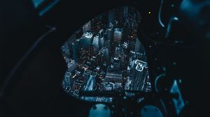 Preview wallpaper aerial view, night city, feet, review, new york, united states
