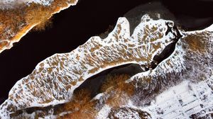 Preview wallpaper aerial view, river, forest, trees, snow