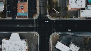 Preview wallpaper aerial view, streets, houses, cars