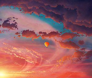 Preview wallpaper air balloon, aerostat, art, clouds, sky, flight