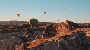Preview wallpaper air balloons, mountains, flight, turkey