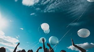 Preview wallpaper balloons, people, hands, sky, fly
