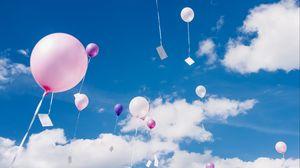 Preview wallpaper balloons, sky, clouds, flight, height