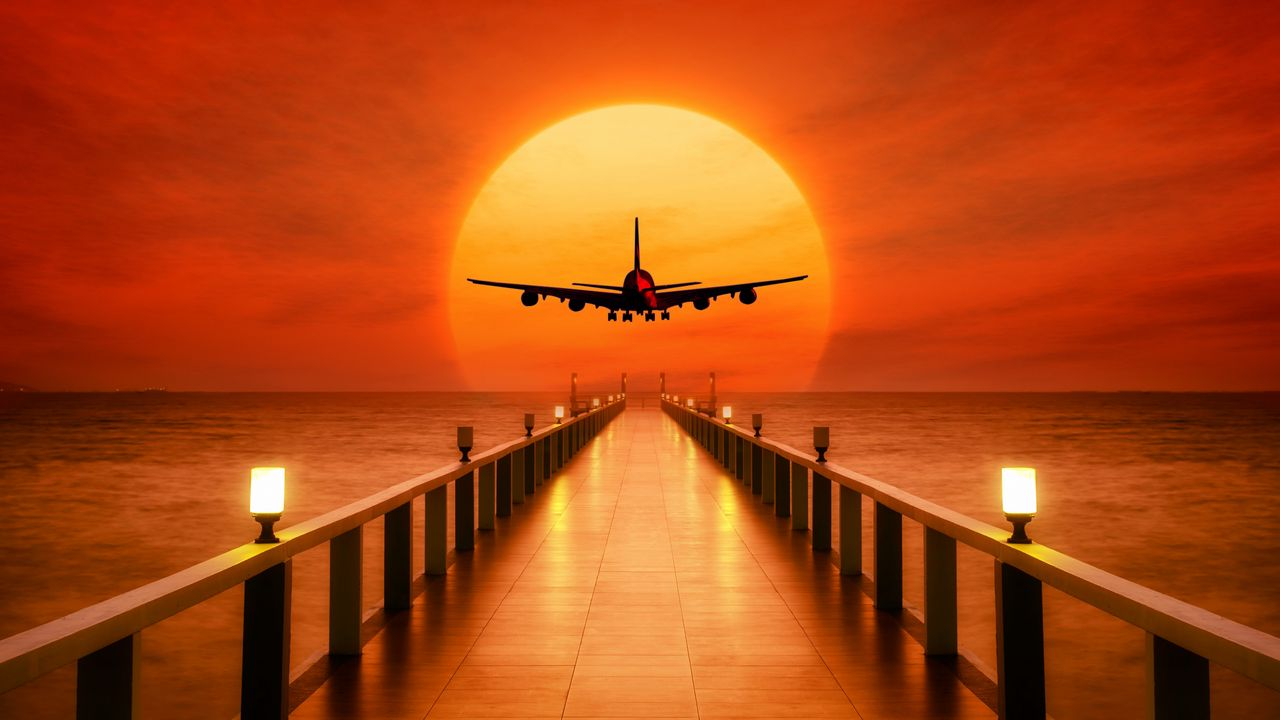 Wallpaper airplane, photoshop, sunset, wharf