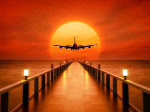 Preview wallpaper airplane, photoshop, sunset, wharf