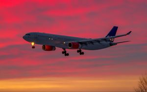 Preview wallpaper airplane, ship, sunset, sky