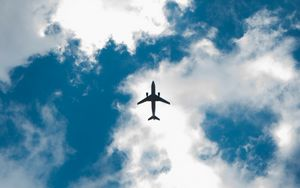 Preview wallpaper airplane, sky, clouds, bottom view