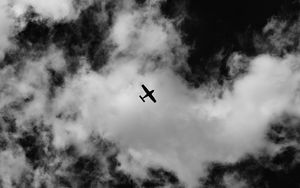 Preview wallpaper airplane, sky, clouds, bw