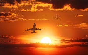 Preview wallpaper airplane, sun, flight, sunset, birds, sky