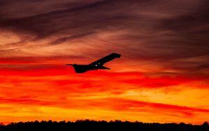Preview wallpaper airplane, sunset, sky, flight