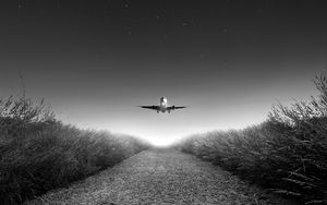 Preview wallpaper airplane, takeoff, bw, starry sky, photoshop