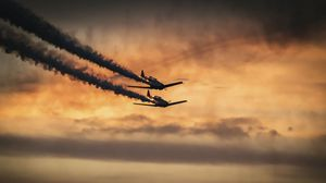 Preview wallpaper airplanes, military, smoke, sky