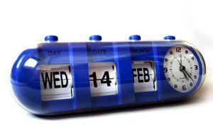Preview wallpaper alarm clock, calendar, blue, time