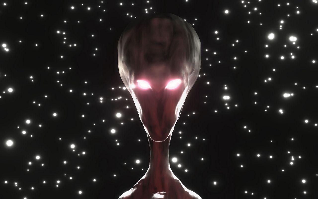 1280x800 Wallpaper alien, humanoid, face, glow, stars