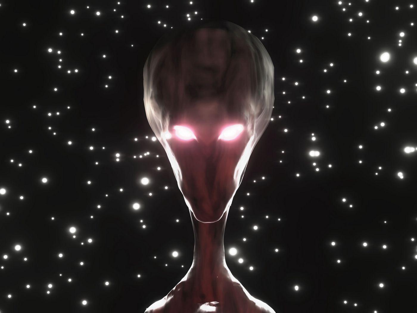 1400x1050 Wallpaper alien, humanoid, face, glow, stars
