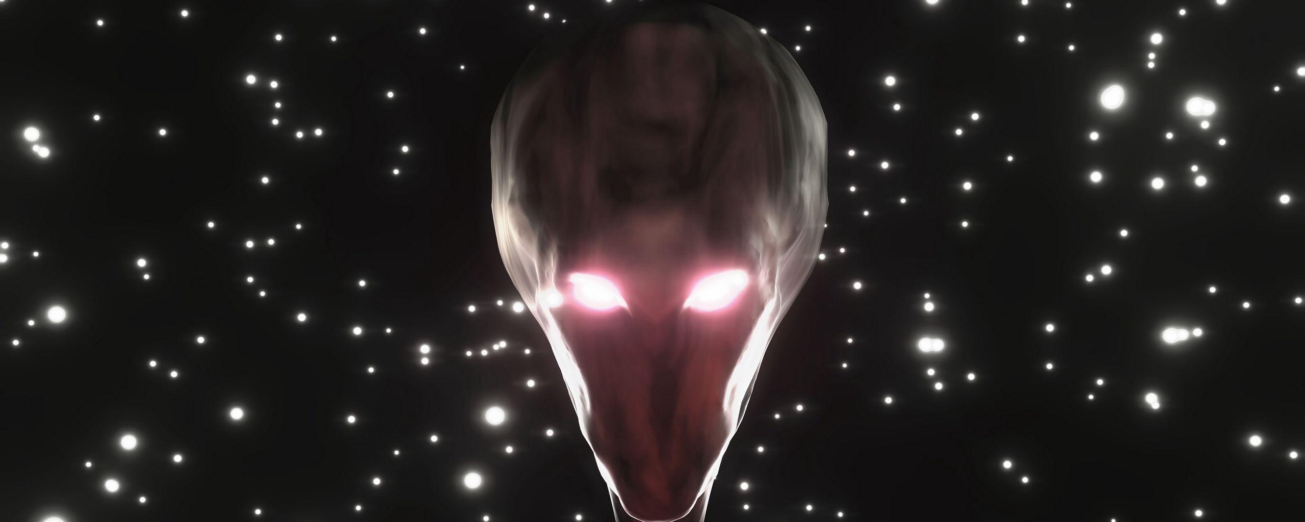 2560x1024 Wallpaper alien, humanoid, face, glow, stars