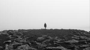Preview wallpaper alone, bw, rocks, solitude, horizon