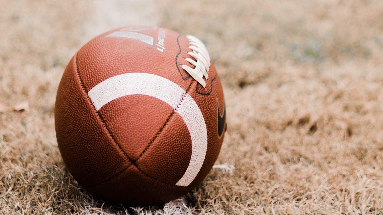 Wallpaper american football, ball, lawn, marking
