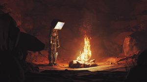 Preview wallpaper android, screen, bonfire, fire, cave, dark