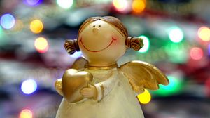 Preview wallpaper angel, christmas, reflections, statue