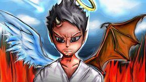 Preview wallpaper angel, devil, art, contradiction, essence