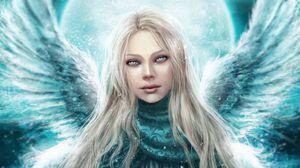 Preview wallpaper angel, girl, wings, eyes, darling