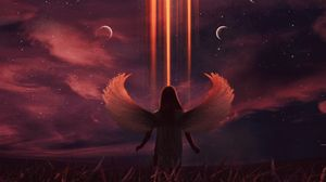 Preview wallpaper angel, moon, illusion, night, art