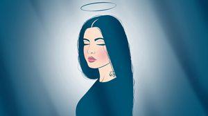 Preview wallpaper angel, nimbus, tattoo, lips, dream, peace