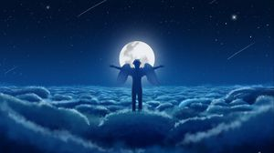 Preview wallpaper angel, sky, wings, moon, clouds