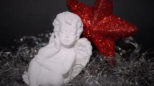 Preview wallpaper angel, star, shine, statue