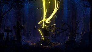 Preview wallpaper angel, wings, art, sword, dark, yellow