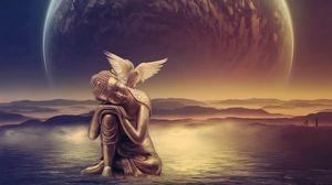 Preview wallpaper angel, wings, bird, water