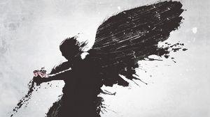 Preview wallpaper angel, wings, flower, vector