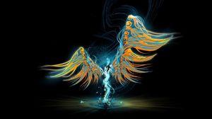 Preview wallpaper angel, wings, light, pattern