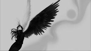 Preview wallpaper angel, wings, white, black, girl