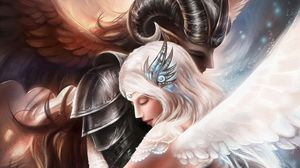 Preview wallpaper angels, hugs, tenderness, caring